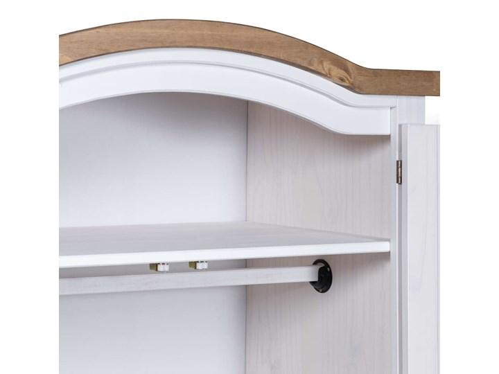 vidaXL Szafa sosnowa w meksykańskim stylu Corona, 2-drzwiowa, biała Drewno Lustro Metal Kolor Biały
