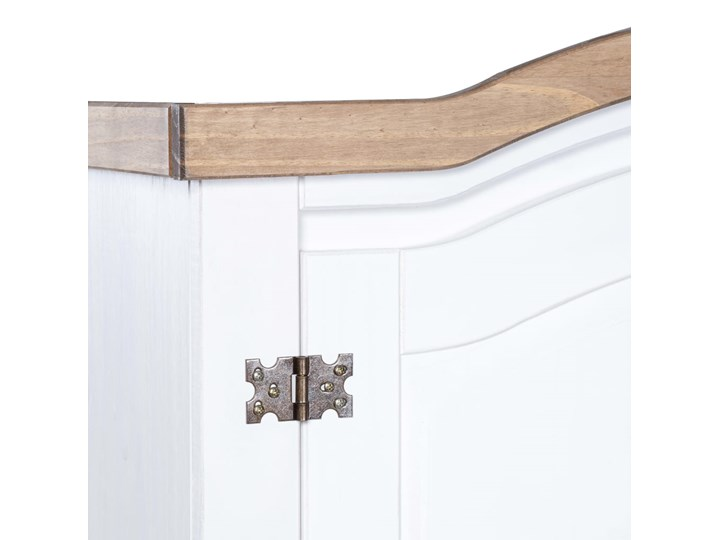 vidaXL Szafa sosnowa w meksykańskim stylu Corona, 2-drzwiowa, biała Metal Drewno Kolor Biały