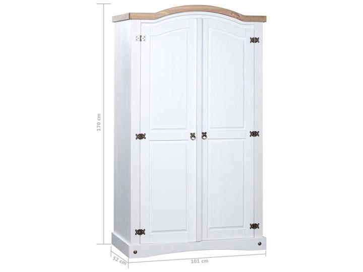 vidaXL Szafa sosnowa w meksykańskim stylu Corona, 2-drzwiowa, biała Metal Drewno Kategoria Szafy do garderoby