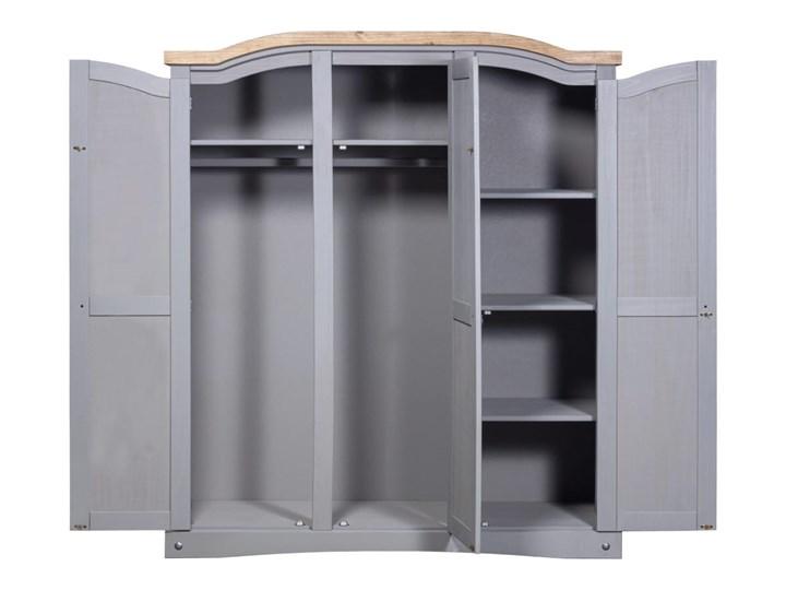 vidaXL Szafa sosnowa w meksykańskim stylu Corona, 3-drzwiowa, szara Drewno Metal Styl Rustykalny Pomieszczenie Sypialnia