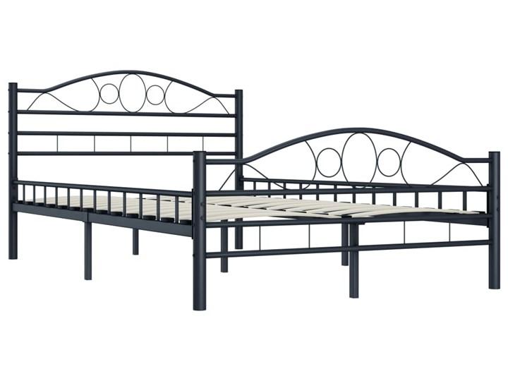 vidaXL Rama łóżka, czarna, stalowa, 120 x 200 cm Łóżko metalowe Kolor Czarny
