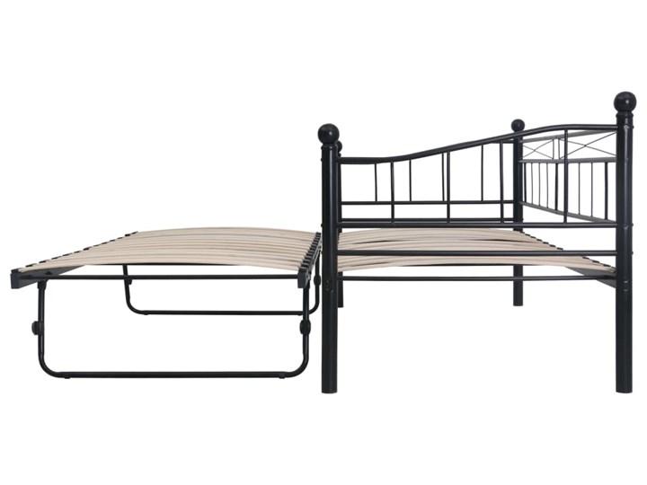 vidaXL Rama łóżka, czarna, stalowa, 180x200/90x200 cm Łóżko metalowe Kategoria Łóżka do sypialni Kolor Czarny