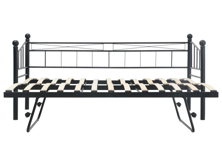 vidaXL Rama łóżka, czarna, stalowa, 180x200/90x200 cm Łóżko metalowe Kategoria Łóżka do sypialni