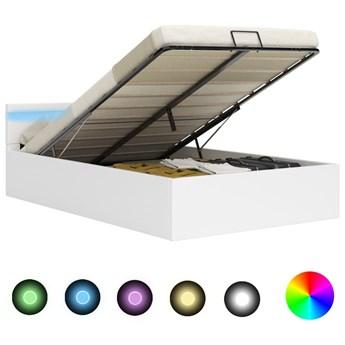 vidaXL Rama łóżka z podnośnikiem i LED, biała, ekoskóra, 160 x 200 cm