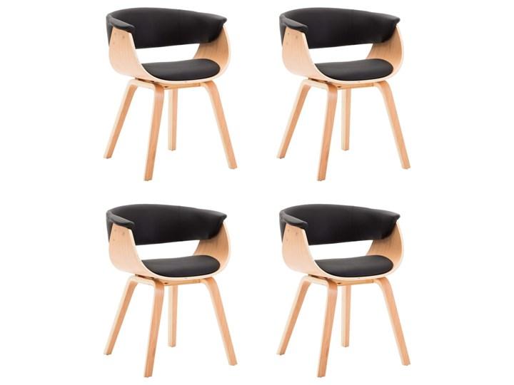 vidaXL Krzesła do jadalni, 4 szt., czarne, gięte drewno i ekoskóra Szerokość 59,5 cm Skóra ekologiczna Głębokość 38 cm Wysokość 72 cm Szerokość 43 cm Kolor Czarny