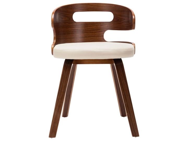 vidaXL Krzesła do jadalni, 4 szt., kremowe, gięte drewno i ekoskóra Skóra ekologiczna Styl Nowoczesny