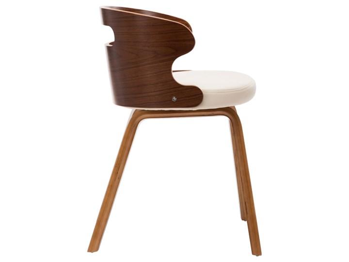 vidaXL Krzesła do jadalni, 4 szt., kremowe, gięte drewno i ekoskóra Styl Nowoczesny Skóra ekologiczna Pomieszczenie Jadalnia