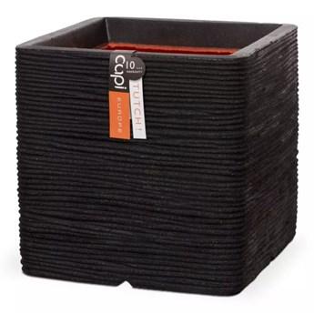 Capi Kwadratowa donica Nature Rib, 40 x 40 cm, czarna, KBLR903