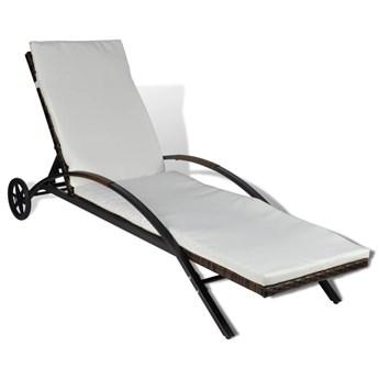 vidaXL Leżak z poduszką i kółkami, polirattan, brązowy