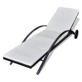 vidaXL Leżak z poduszką i kółkami, polirattan, czarny