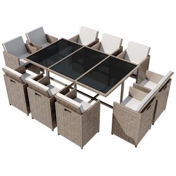 vidaXL 11-cz. zestaw mebli ogrodowych z poduszkami, rattan PE, beżowy