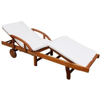 vidaXL Leżak z poduszką, lite drewno akacjowe