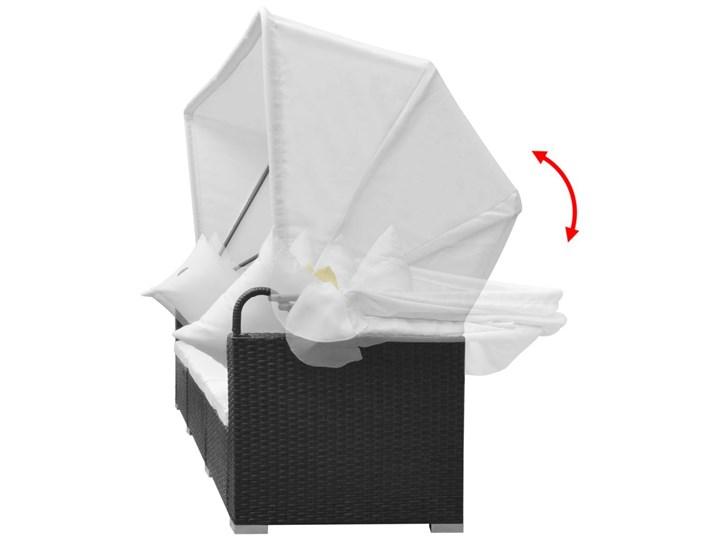 vidaXL 7-cz. zestaw wypoczynkowy do ogrodu, zadaszenie rattan PE czerń Zestawy modułowe Tworzywo sztuczne Zestawy kawowe Zestawy wypoczynkowe Stal Zawartość zestawu Sofa Kategoria Zestawy mebli ogrodowych