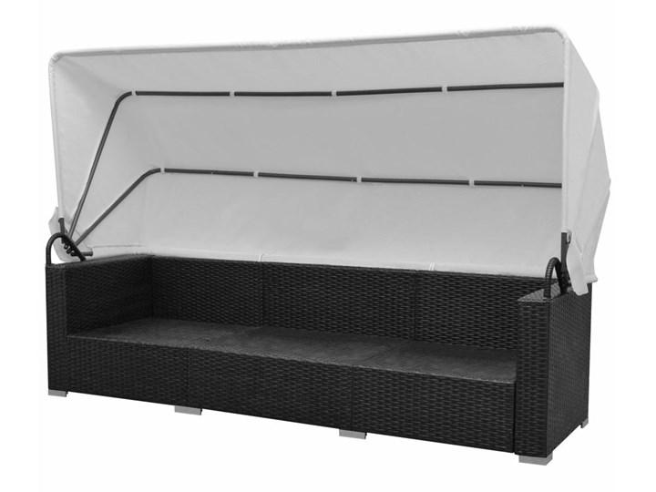 vidaXL 7-cz. zestaw wypoczynkowy do ogrodu, zadaszenie rattan PE czerń Zestawy modułowe Zestawy wypoczynkowe Zestawy kawowe Stal Tworzywo sztuczne Liczba miejsc Siedmioosobowy