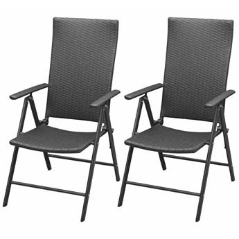 vidaXL Sztaplowane krzesła ogrodowe, 2 szt., polirattan, czarne