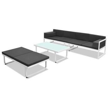 vidaXL 4-cz. zestaw mebli do ogrodu z poduszkami, aluminium, czarny