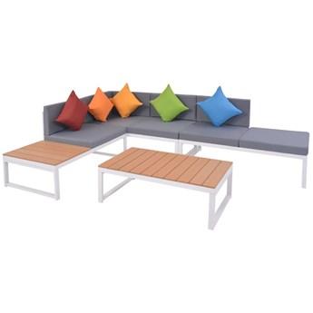 vidaXL 4-cz. zestaw mebli do ogrodu z poduszkami, aluminium i WPC