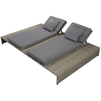 vidaXL Podwójny leżak ogrodowy z poduszką, polirattan, szary