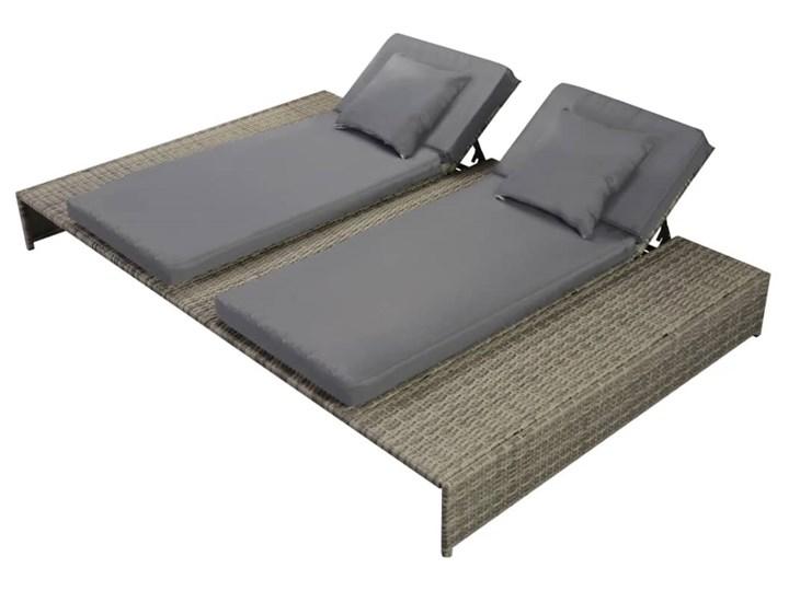 vidaXL Podwójny leżak ogrodowy z poduszką, polirattan, szary Leżanki Metal Z regulowanym oparciem Kategoria Leżaki ogrodowe