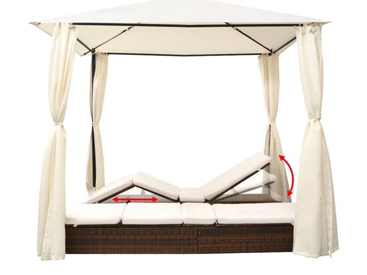 vidaXL Podwójny leżak ogrodowy z zasłonami, polirattan, brązowy Z daszkiem Metal Z regulowanym oparciem Kategoria Leżaki ogrodowe