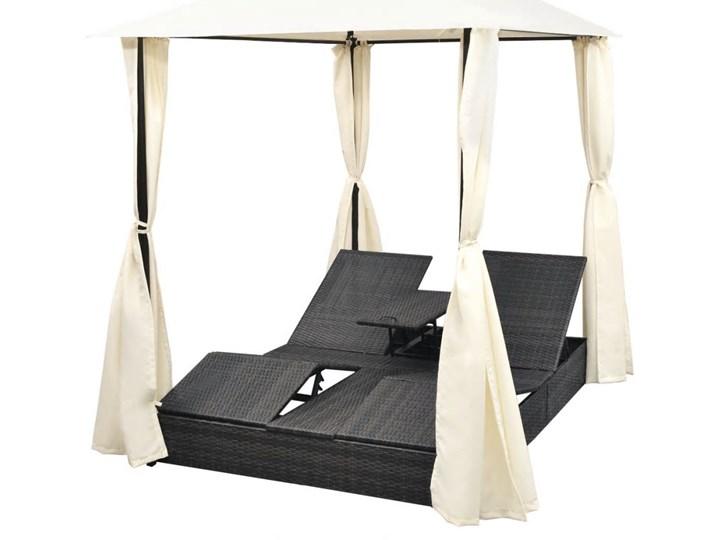vidaXL Podwójny leżak z zasłonami, polirattan, czarny Z daszkiem Z regulowanym oparciem Metal Kolor Beżowy
