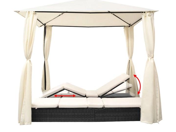 vidaXL Podwójny leżak z zasłonami, polirattan, czarny Metal Z daszkiem Z regulowanym oparciem Kolor Beżowy