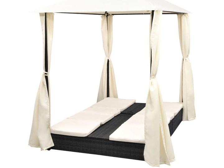 vidaXL Podwójny leżak z zasłonami, polirattan, czarny Z regulowanym oparciem Kategoria Leżaki ogrodowe Z daszkiem Metal Kolor Beżowy