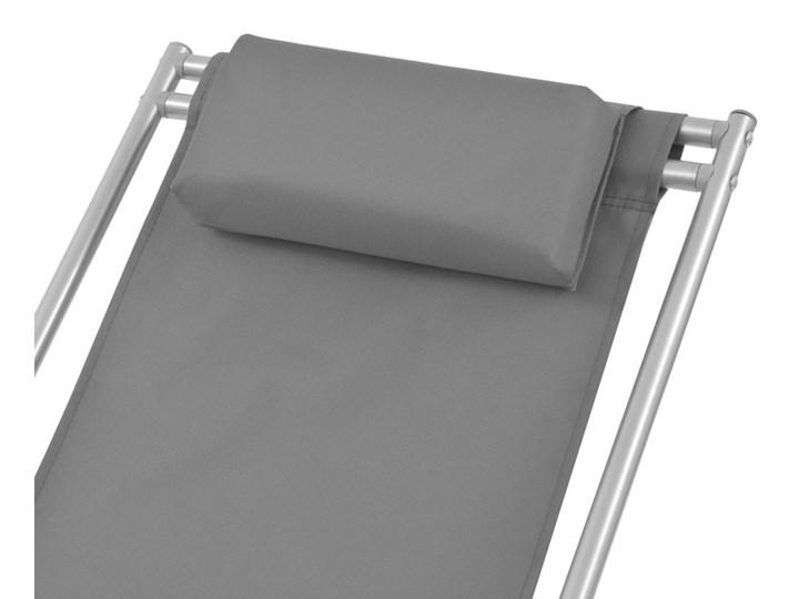vidaXL Rozkładane leżaki tarasowe, 2 szt., stal, szare Składane Metal Kategoria Leżaki ogrodowe