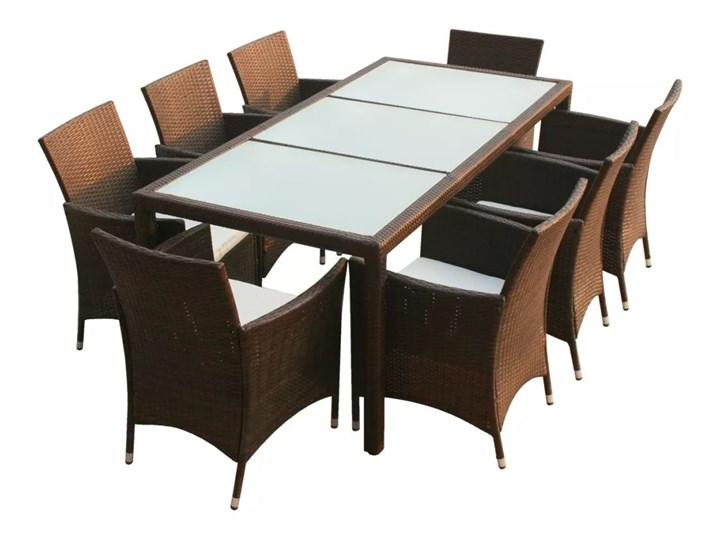 vidaXL 9-cz. zestaw mebli ogrodowych z poduszkami, rattan PE, brązowy Technorattan Stoły z krzesłami Aluminium Stal Zawartość zestawu Fotele