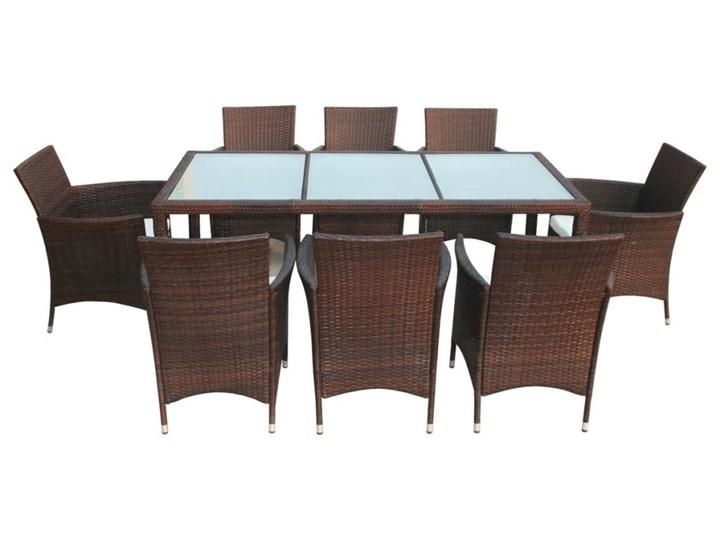 vidaXL 9-cz. zestaw mebli ogrodowych z poduszkami, rattan PE, brązowy Stoły z krzesłami Stal Aluminium Technorattan Liczba miejsc Ośmioosobowy