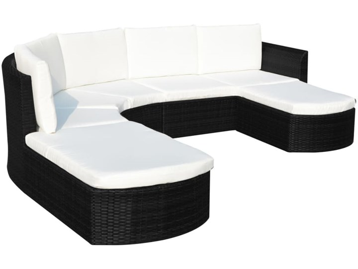 vidaXL 4-cz. zestaw wypoczynkowy do ogrodu, poduszki, rattan PE czarny Zestawy wypoczynkowe Zestawy modułowe Liczba miejsc Pięcioosobowy