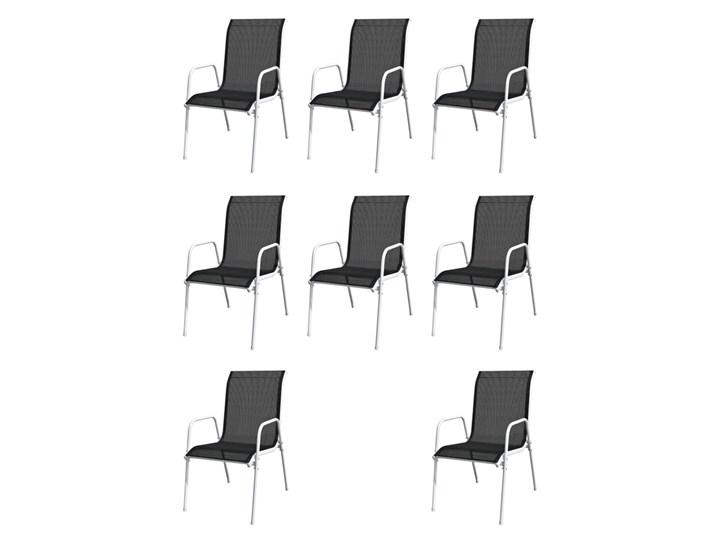 vidaXL 9-cz. zestaw mebli ogrodowych, stalowy, czarny Stoły z krzesłami Zawartość zestawu Stół Zawartość zestawu Krzesła