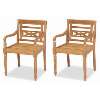vidaXL Krzesła Batavia, 2 szt., lite drewno tekowe