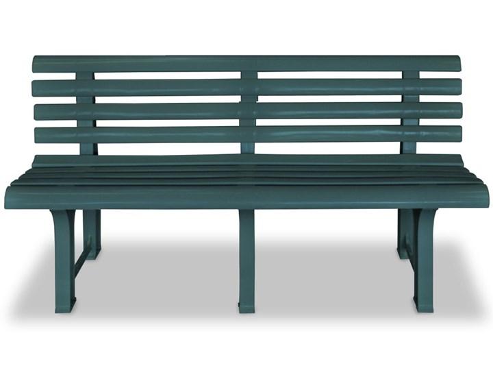 vidaXL Ławka ogrodowa, 145,5 cm, plastik, zielona Tworzywo sztuczne Kolor Khaki Z oparciem Kategoria Ławki ogrodowe