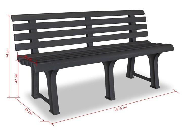 vidaXL Ławka ogrodowa, 145,5 cm, plastik, antracytowa Tworzywo sztuczne Z oparciem Kolor Czarny