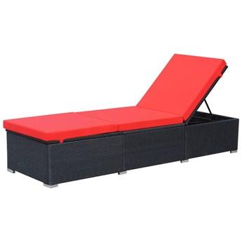 vidaXL Leżak ogrodowy z poduszką, polirattan, czarny