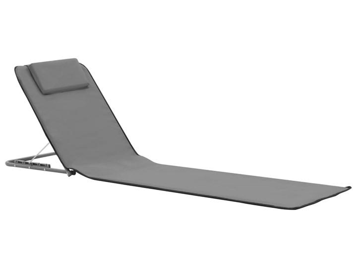 vidaXL Składane maty plażowe, 2 szt., stal i tkanina, szare Z regulowanym oparciem Metal Kolor Szary
