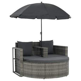vidaXL 2-osobowa sofa z poduszkami i parasolem, polirattan, szara