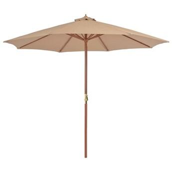 vidaXL Parasol ogrodowy na drewnianym słupku, 300 cm, taupe