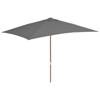 vidaXL Parasol ogrodowy na drewnianym słupku, 200x300 cm, antracytowy