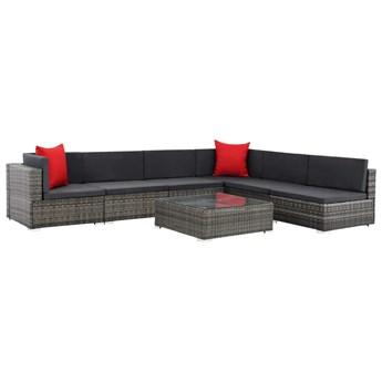 vidaXL 7-cz. zestaw wypoczynkowy do ogrodu, poduszki, rattan PE, szary