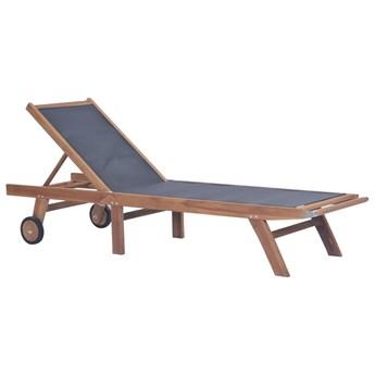 vidaXL Składany leżak z kółkami, lite drewno tekowe i textilene