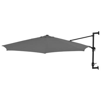 vidaXL Parasol ścienny na metalowym słupku, 300 cm, antracytowy
