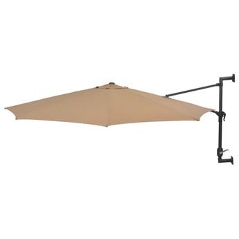 vidaXL Parasol ścienny na metalowym słupku, 300 cm, kolor taupe