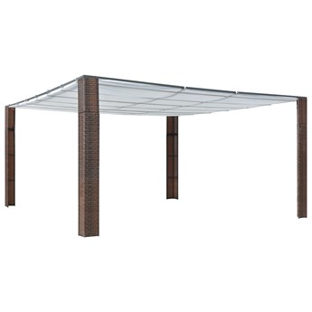 vidaXL Altana z dachem, polirattan, 400x400x200cm, brązowo-kremowa