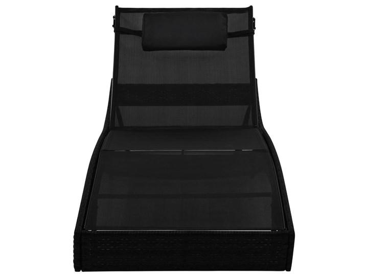 vidaXL Leżak ogrodowy z poduszką, polirattan, czarny Z regulowanym oparciem Kategoria Leżaki ogrodowe Styl Nowoczesny