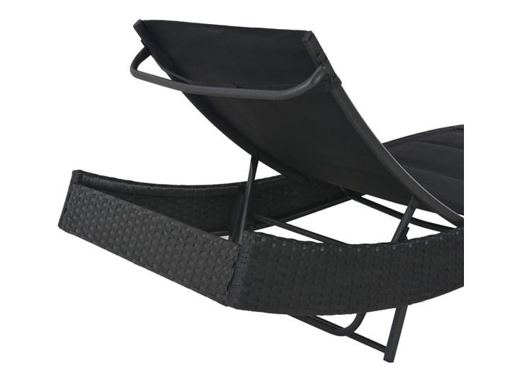 vidaXL Leżak, polirattan i textilene, czarny Z regulowanym oparciem Metal Kategoria Leżaki ogrodowe