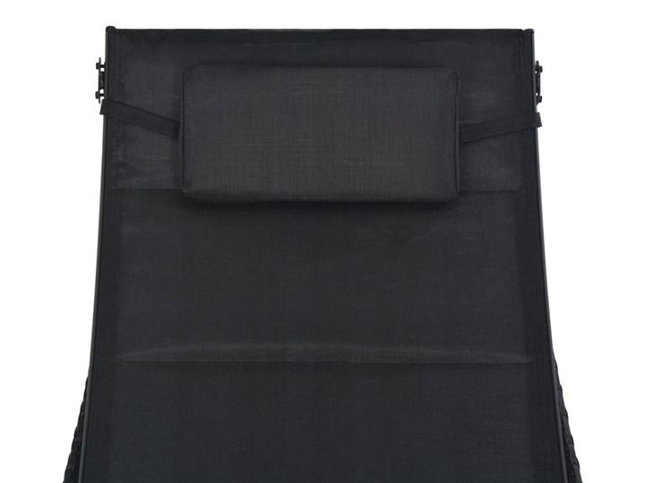 vidaXL Leżak, polirattan i textilene, czarny Metal Kategoria Leżaki ogrodowe Z regulowanym oparciem Styl Nowoczesny