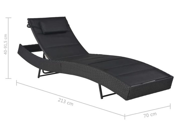 vidaXL Leżak, polirattan i textilene, czarny Kategoria Leżaki ogrodowe Z regulowanym oparciem Metal Styl Nowoczesny
