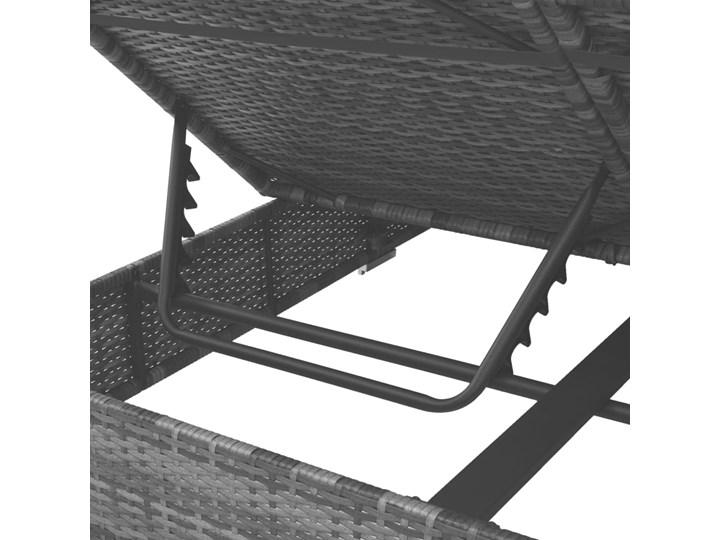 vidaXL Leżak ogrodowy z baldachimem, rattan PE, szary Metal Leżanki Z daszkiem Kategoria Leżaki ogrodowe Kolor Czarny